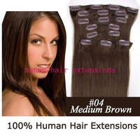 "20"" 22"" 24"" 8pcs remy clip in human hair extension clip hair extension #04 medium brown 85g/set 5sets/color/lot"