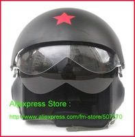New TK Chinese popular Military Air Force Jet Pilot Open Face Motorcycle Matt Black Helmet & Visor SIZE M , L , XL , XXL