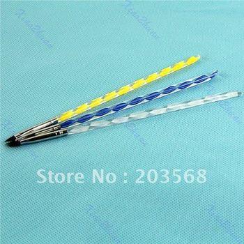 D19+Free shipping! 10sets /lot Colorful 3pcs Nail Art Design Tips Pen Crystal Brush