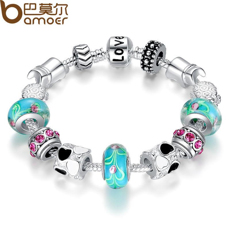 Aliexpress Hot Sell 925 Silver European Charm Bracelet Bangle for Women with Murano Glass Beads Fashion Love DIY Jewelry PA1019(China (Mainland))