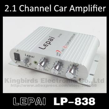 al por mayor 12v 2.1 3 canales estéreo mini coche equipo amplificador subwoofer amplificador salida lepai lp-838