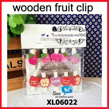 WHOLESALE wood clip memo holder novel snack close fruit series strawberry apple style 10pcs/pack 15packs/lot say hi TC 06022(China (Mainland))