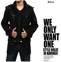 Big Fashion Men Stylish Slim Men's Wool Coat Winter Outerwear Hoody Jacket Trench Coat Outdoor Overcoat Windbreaker Spring