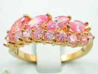 Free Shipping New Wholesale and retail Graceful  pink zircon Ring in 14K Yellow Gold GP Size 8