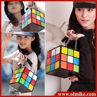 Free shipping wholesale ladies' Fashion design Colourful Magic cube handbag cosmetic Tote bag women's handbags Gift 15*15*15cm