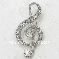 Wholesale 12piece/lot Clear Crystal Rhinestone Music Note Pin Brooch Fashion costume brooch jewelry gift C917 A