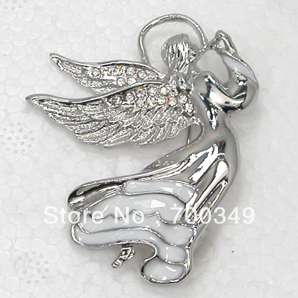 Free Shipping Wholesale 12piece/lot Clear Crystal Rhinestone Enamel Fairy Angels Pin Brooch Fashion Brooches Jewelry C124 A(China (Mainland))