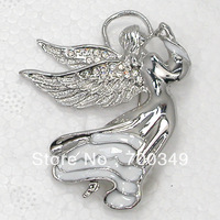 Free Shipping Wholesale 12piece/lot Clear Crystal Rhinestone Enamel Fairy Angels Pin Brooch Fashion Brooches Jewelry C124 A
