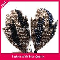 freeshipping wholesale charm crystal beads leave design headband /hairband HAIR ACCESSORIES JA-49