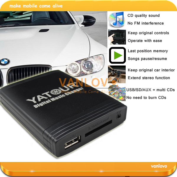 Digital CD Changer USB SD AUX MP3 Interface for BMW E46 E39 round 17-pin radios(China (Mainland))
