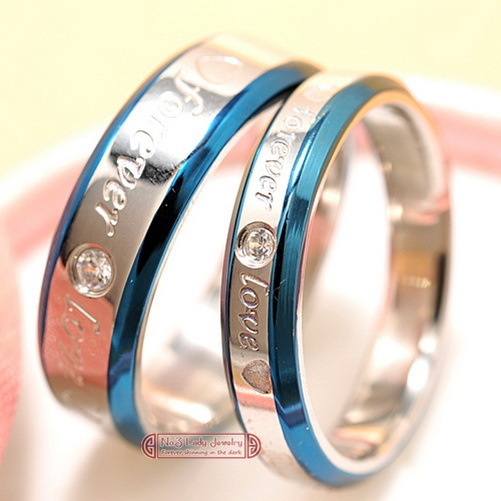 "his and hers promise ring sets, Engagement Couple Stainless Steel ""Forever Love"" Rings Lovers,men women, Wholesale Free Shipping(China (Mainland))"