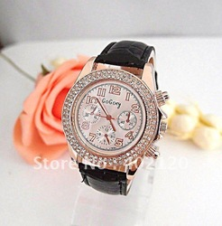 Christmas sale Multi colors Leather Sparkling Crystal Watch Fashion Women dress Watch ladies quartz wrist analog watch Go0012-2(China (Mainland))