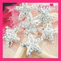 Wholesale star shape rhinestone button siliver color 100pieces/lot WBK-392