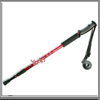 Free Shipping,2 In 1 Alpenstock Walking Stick Compass Black,3-section Straight Bar Hiking Pole,10Sets/lot-J00588RE