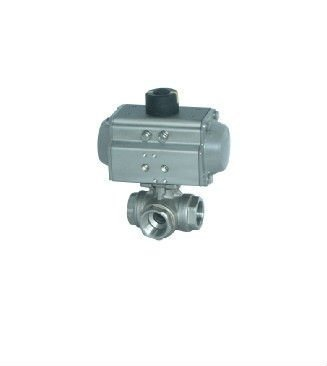 1 1/2 INCH stainless steel Pneumatic 3 way ball valve with double operating, control pressure:3-8bar, working pressure:0-40bar,(China (Mainland))