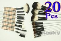 Wholesale - 20 pcs MAKEUP BRUSH SALON ARTIST BAG SET CHEQUER PATTERN Gift Kit Free Shipping