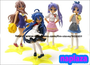 Japanese Anime 4.4'' Lucky Star Figure Konata Izumi Figure ,4pcs/set pvc  cute figure  free shipping