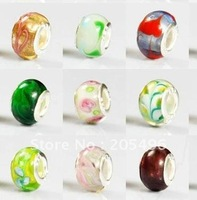 NEW ARRIVAL FREE SHIPPING 100pcs lampwork glass european beads fashion jewelry #R-12037Y66
