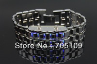 Stylish Samurai Blue Light Stainless Steel Men's LED Watch Bracelet (Silver)