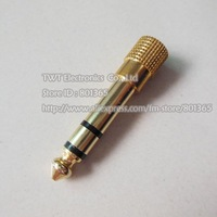 "Free shipping 6.35mm 1/4"" Male to 3.5mm Female Stereo Audio Adapter 3.5mm Female to 6.5mm Male Plug Stereo Adapter Golden"