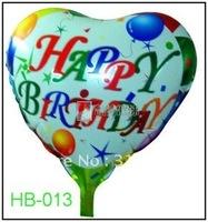 "Free Shipping, HB-013 Heart Shape -18"" Happy Birthday/Party Foil Balloon,20/lot"