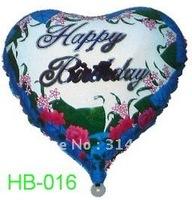 "Free Shipping, HB-016 Heart Shape -18"" Happy Birthday/Party Foil Balloon, 20pcs/lot"