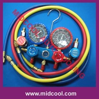 R134a refrigeration testing manifolds gauge set with sight glass