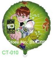 "CT-0010 Cartoon Design-(Ben 10 Alien Force) Foil Balloon/ Party Ballon/Holiday Balloon- Round Shape -18"", 20pcs/lot"