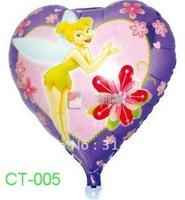 "Free Shipping, CT-005 Tinkerbell Cartoon Design Foil Ballon/ Party & Holiday Balloon- Heart Shape -18"", 20pcs/lot"