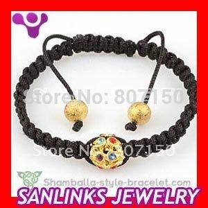 5pcs/lot,Fashion Shamballa Black Macrame Bracelet With One Gold Color Plastic Crystal Beads