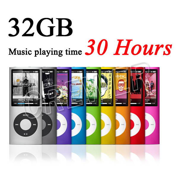 Free Ship Slim 1.8' 4th gen 32GB 9Colors for choose mp3 player Music playing time 30Hours fm radio ebook video player(China (Mainland))