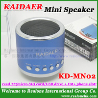 USB Portable speaker KAIDAER KD-MN02 read TFcard with FM,100% original cool quality mini speaker+Free Shipping+8color for option