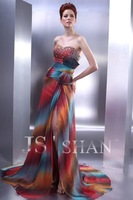 Fast Free Shipping!JS11P26 Colourful Chiffon Strapless Beaded Train Evening Gown