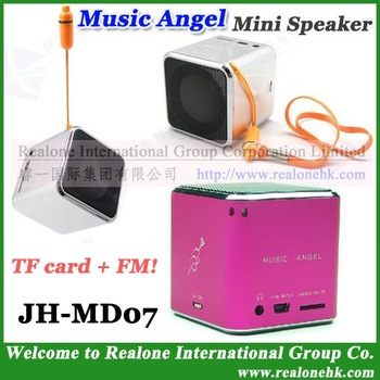 Speaker MUSIC ANGEL Mini Speaker JH-MD07 TF card music sound box+FM radio+100% original COOL quality+HOT wholesale(4pcs/lot)!