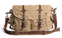 Free Shipping! Thick canvas + genuine leather Sling Bag Men's Messenger Shoulder Bag fashion postman bag leisure bag 281-0 khaki