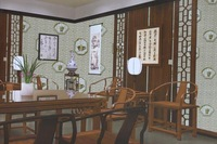 2014 Antique Chinese Tea House Hotel Restaurant waterproof PVC wallpaper living room decoration free shipping