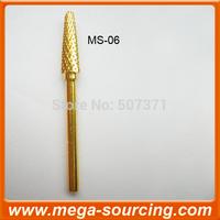 Free Shipping wholesale 100pcs/lot CONE GOLD Carbide Nail Drill Bits MS-06