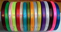 wholesale-free shipping 1/4'' 6mm 10yard/pcs Satin Ribbon 16 colors
