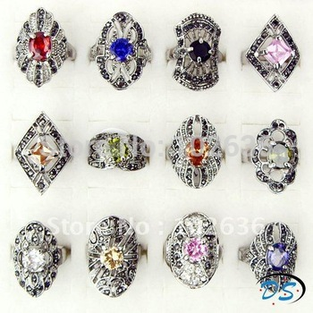 Free shipping!Wholesale lots Black Gun Plated Zircon Rings Rhinestone Rings