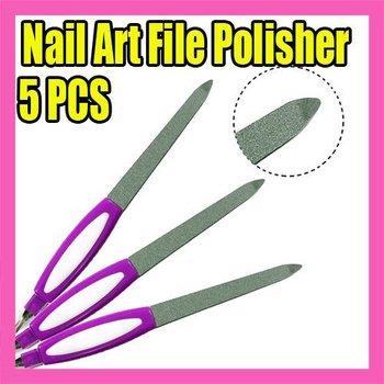 Wholesales Price Freeshipping 25pcs/LOT purple nail file polisher 2 ways nail art Tool C127