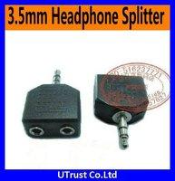 Free shipping 100pcs/lot 3.5mm Plug to 3.5mm Jack,MP3 Splitter Adapter, Stereo Audio Converter