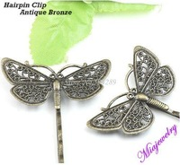 Hot Sell Jewelry Accessories,500pcs/lot 43*25*65 mm Antique Bronze Butterfly Hairpin, Fashion Hairpin