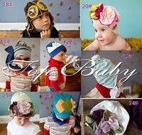 YUF NEWEST  / Baby Cotton Hat with Flowers Kids CAP/Beanies ,have 24 kinds of style MIXED +EMS/DHL  FREE SHIPPING