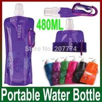 20 pcs/lot Sports mountain climbing Folded water bottle/jug/bag with Carabiner holder/hanger water bag