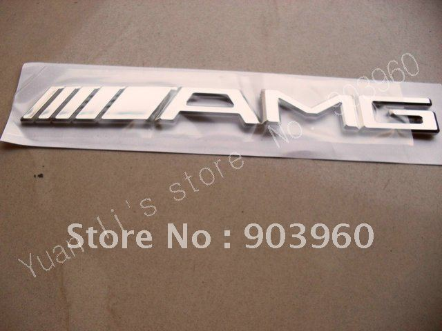 free shipping 1pcs/lot AMG Car Badge CAR EMBLEM 3D Badges with glue sticker 185*20mm silver hig quality(China (Mainland))