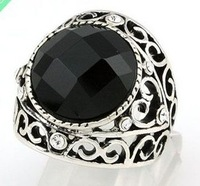 Free Shipping ;Provide tracking number; Exquisite Balck Onyx 18k GP White Gold Men's Ring . Can mix and match.