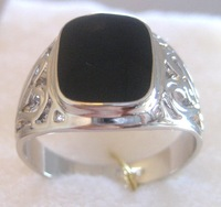 Free Shipping ;Provide tracking number; Exquisite Balck Onyx 18k GP White Gold Men's Ring.Size:8-11.Can mix and match.