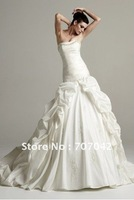 2013 custom-made Taffeta Wedding dresses with Lace up Strapless Ruched Bodice with Asymmetrical Pick up Skirt