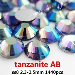 ss8 2.4-2.5mm tanzanite AB flatback rhinestone for jewellery,rhinestone designs for clothing(Hong Kong)