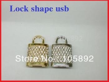 Free shipping 30pcs/lot 4GB 8GB 16GB 32GB 64GB metal crystal Jewelry Lock shape usb flash drive memory stick pen thumb